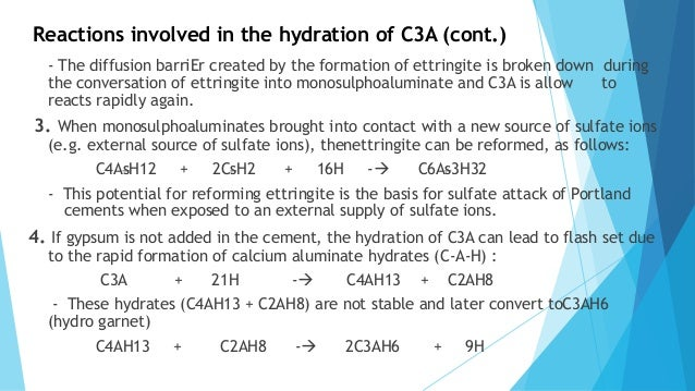 Cement C3a C4af And Hydration In : Hydration of cement