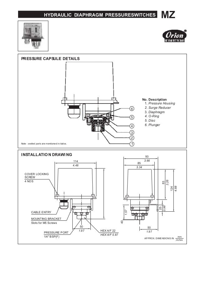 HYDRAULIC DIAPHRAGM PRESSURESWITCHES MZ PRESSURE CAPSULE DETAILS 6 5 4 3 2 Note : wetted parts are mentioned in italics. 1...