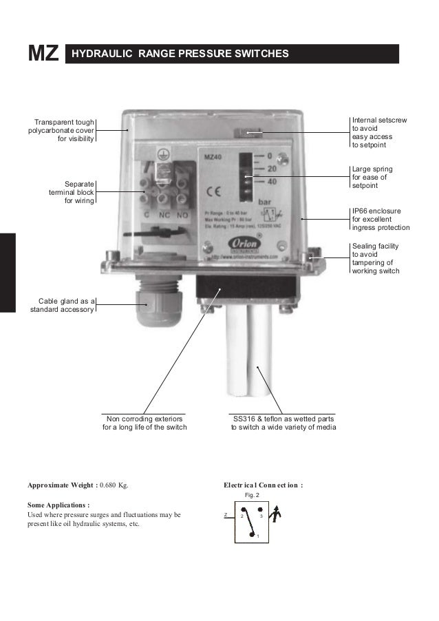 MZ HYDRAULIC RANGE PRESSURE SWITCHES Transparent tough polycarbonate cover for visibility Separate terminal block for wiri...