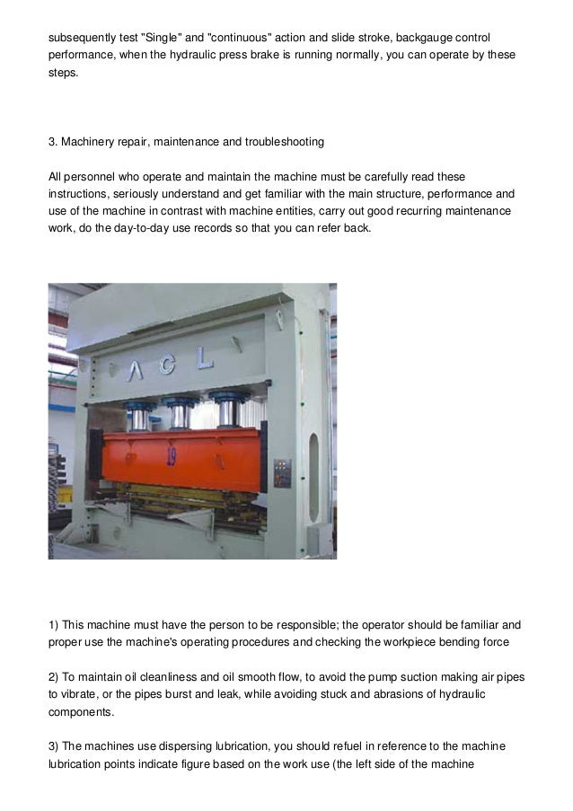 Hydraulic Bending Machine Operating Processes Instructions