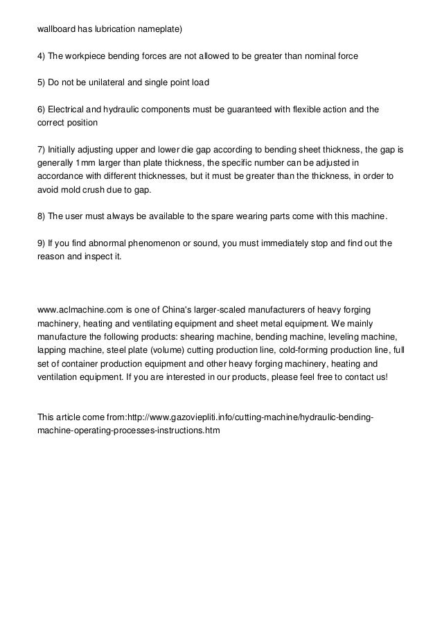 hydraulic sheet bending machine project report pdf