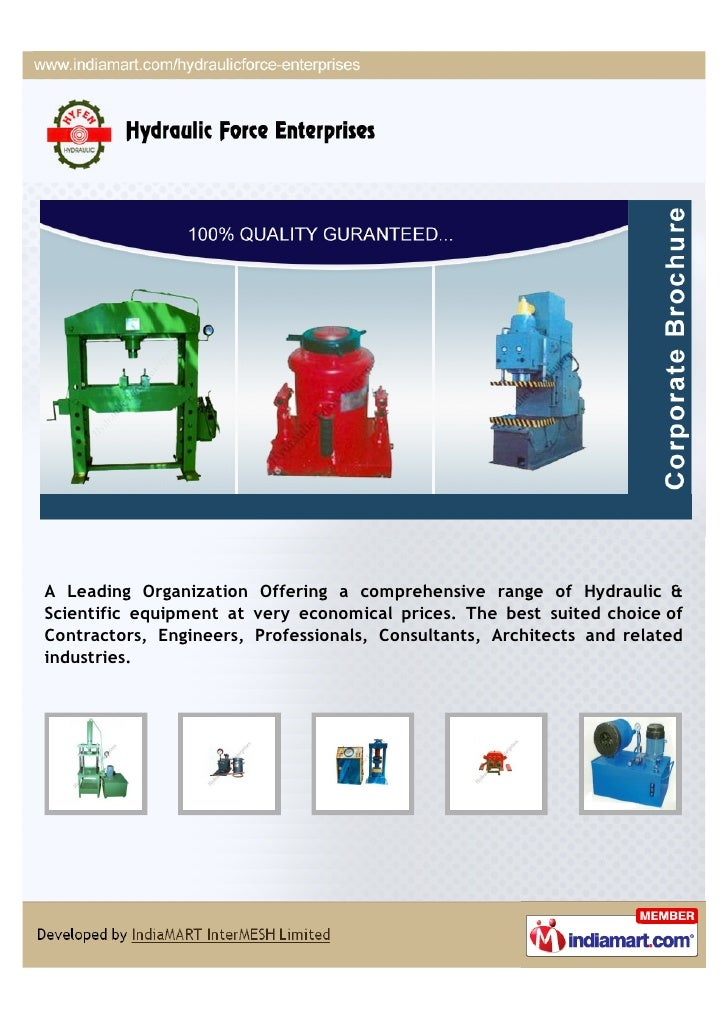A Leading Organization Offering a comprehensive range of Hydraulic &Scientific equipment at very economical prices. The be...