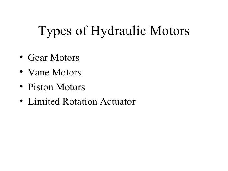 Types Of Hydraulic Motors : Hydraulic motors