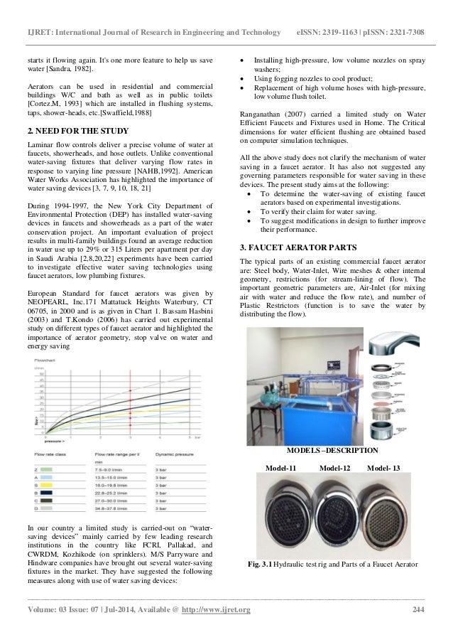 Hydraulic peroformnace of faucet aerator as water