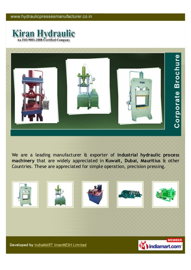 We are a leading manufacturer & exporter of industrial hydraulic processmachinery that are widely appreciated in Kuwait, D...
