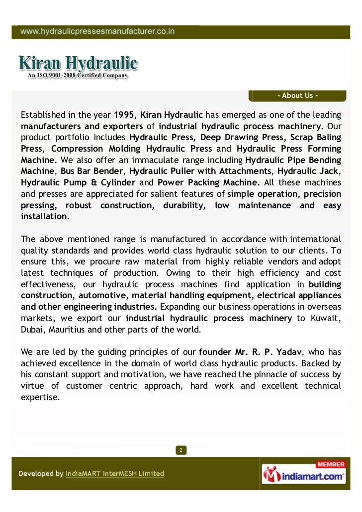 Kiran Hydraulic (An ISO 9001-2008 Certified Company, Mumbai, Hydraulic Process  Slide 2