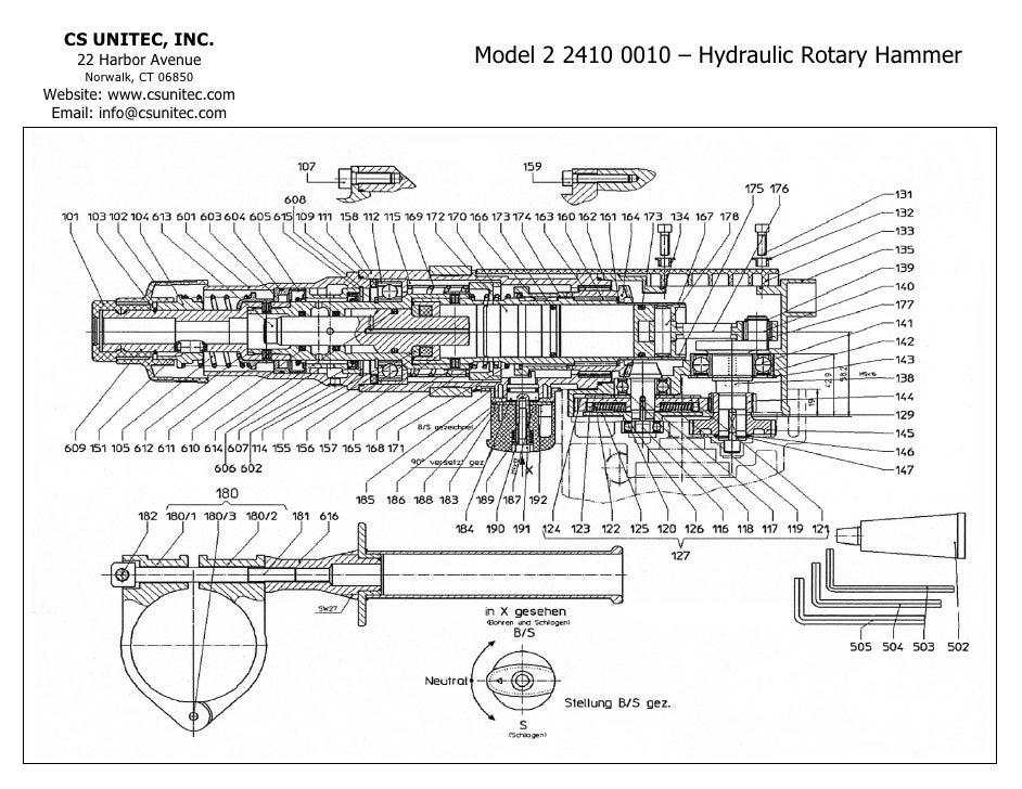 CS Unitec Hydraulic Rotary Hammer Drill Schematic: 2 2410 0010