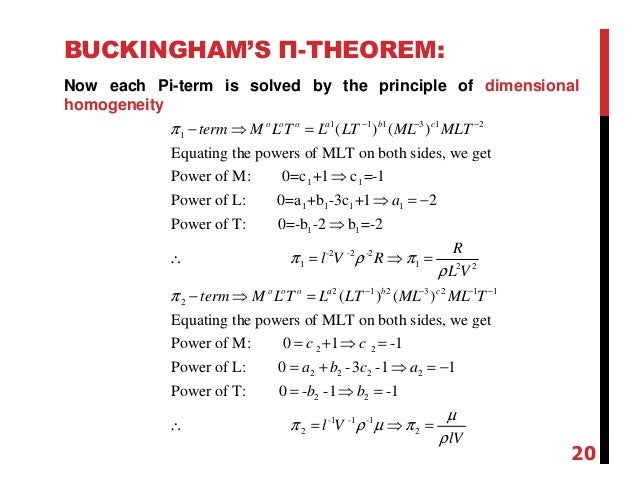 buckingham pi theorem how to choose repeating variables