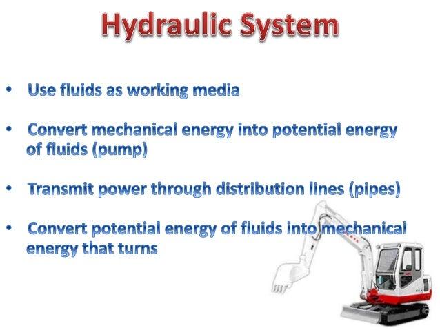 Use fluids as working media  Convert mechanical energy into potential energy of fluids (pump)  Transmit power through dist...