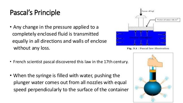 Pascal's Principle • Any change in the pressure applied to a completely enclosed fluid is transmitted equally in all direc...