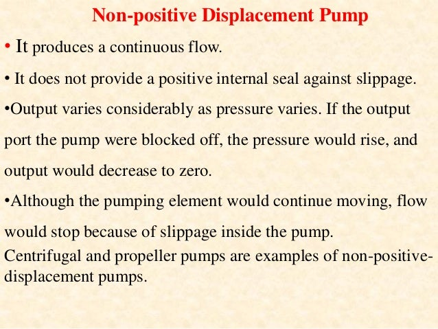 Differences between positive displacement pumps and non-positive displacement pumps