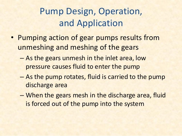 Internal gear pump • The main gear is keyed to the drive shaft, and rotates concentric in the pump casing. • Idler is loca...