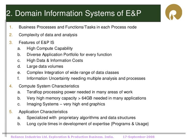2. Domain Information Systems of E&P1.    Business Processes and Functions/Tasks in each Process node2.    Complexity of d...