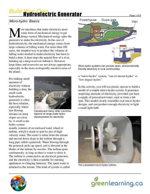 Build Your Own            Hydroelectric Generator                                                                       Pa...