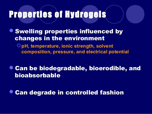 Hydrogels Introduction And Applications In Biology And En