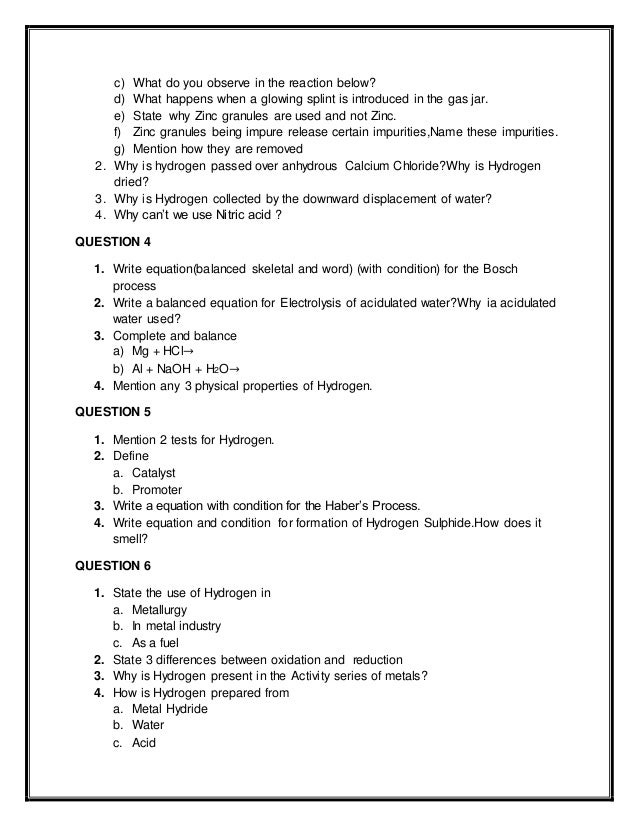 Printables 10th Grade Worksheets worksheet on hydrogen great for students of 8 and 9 10th grade 2