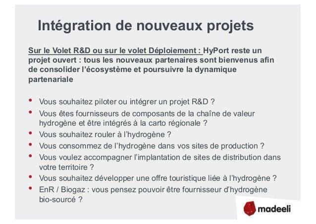Intégration de nouveaux projets Sur le Volet R&D ou sur le volet Déploiement : HyPort reste un projet ouvert : tous les no...