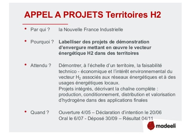 APPEL A PROJETS Territoires H2 • Par qui ? la Nouvelle France Industrielle • Pourquoi ? Labelliser des projets de démonstr...