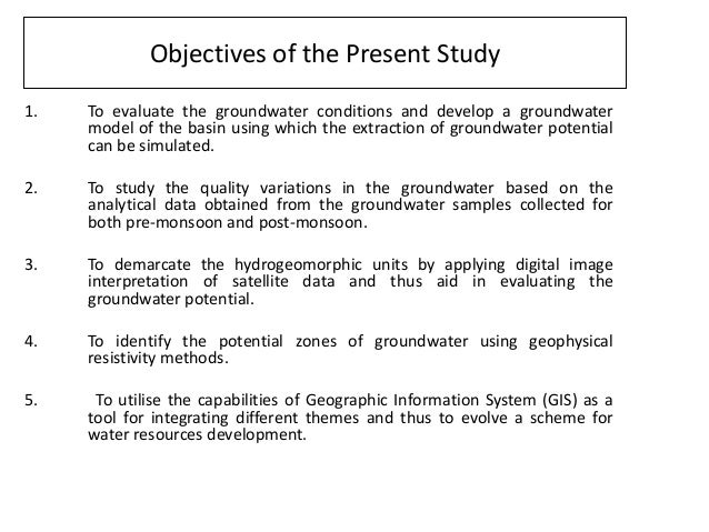 Hydrogeological studies and groundwater