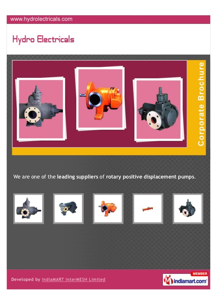 We are one of the leading suppliers of rotary positive displacement pumps.
