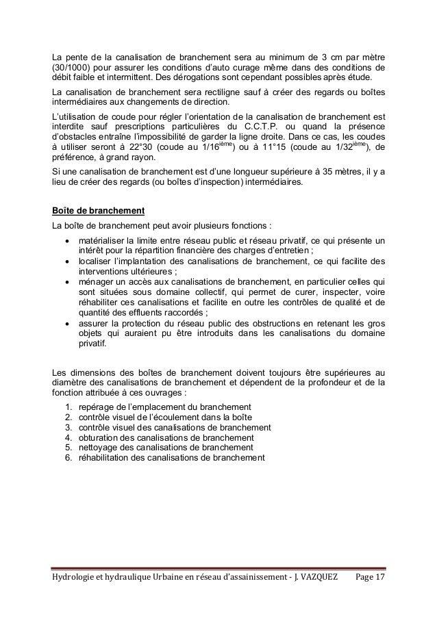 HydrologieethydrauliqueUrbaineenréseaud'assainissement‐J.VAZQUEZ Page17 La pente de la canalisation de branch...