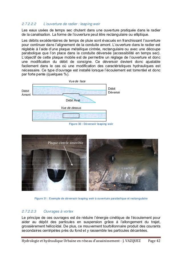 HydrologieethydrauliqueUrbaineenréseaud'assainissement‐J.VAZQUEZ Page42 2.7.2.2.2 L'ouverture de radier : lea...