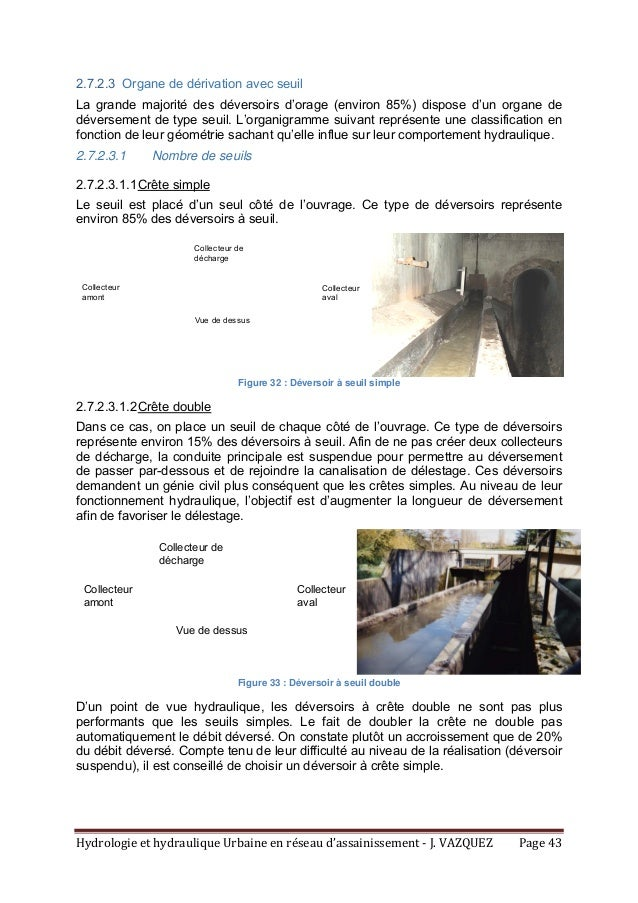 HydrologieethydrauliqueUrbaineenréseaud'assainissement‐J.VAZQUEZ Page43 2.7.2.3 Organe de dérivation avec seu...