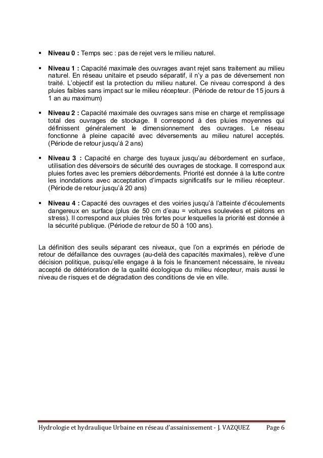 HydrologieethydrauliqueUrbaineenréseaud'assainissement‐J.VAZQUEZ Page6  Niveau 0 : Temps sec : pas de rejet ...