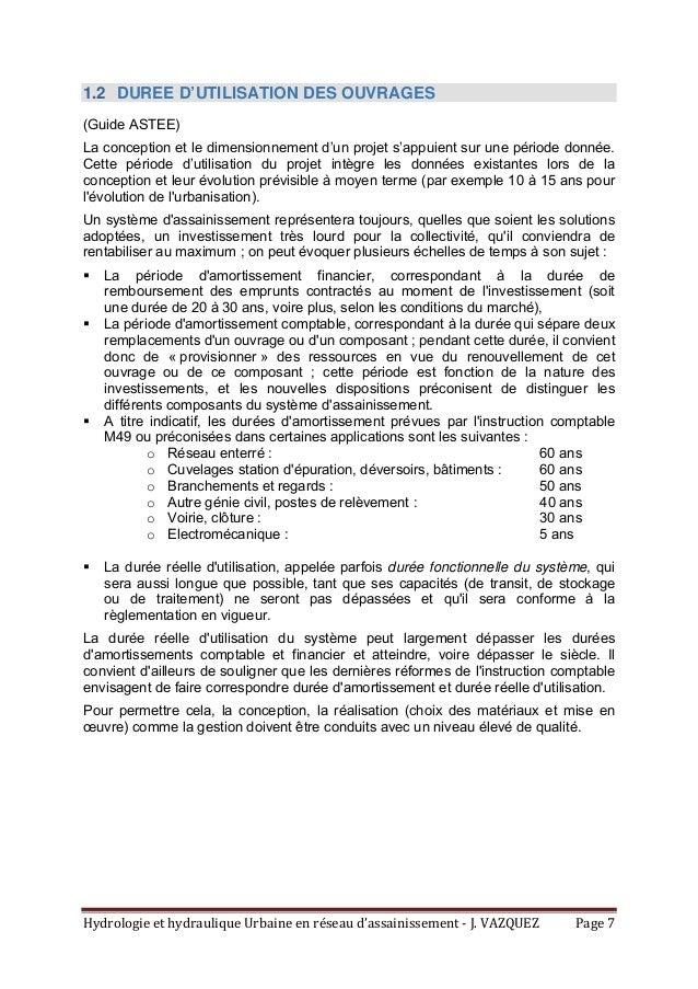 HydrologieethydrauliqueUrbaineenréseaud'assainissement‐J.VAZQUEZ Page7 1.2 DUREE D'UTILISATION DES OUVRAGES (...