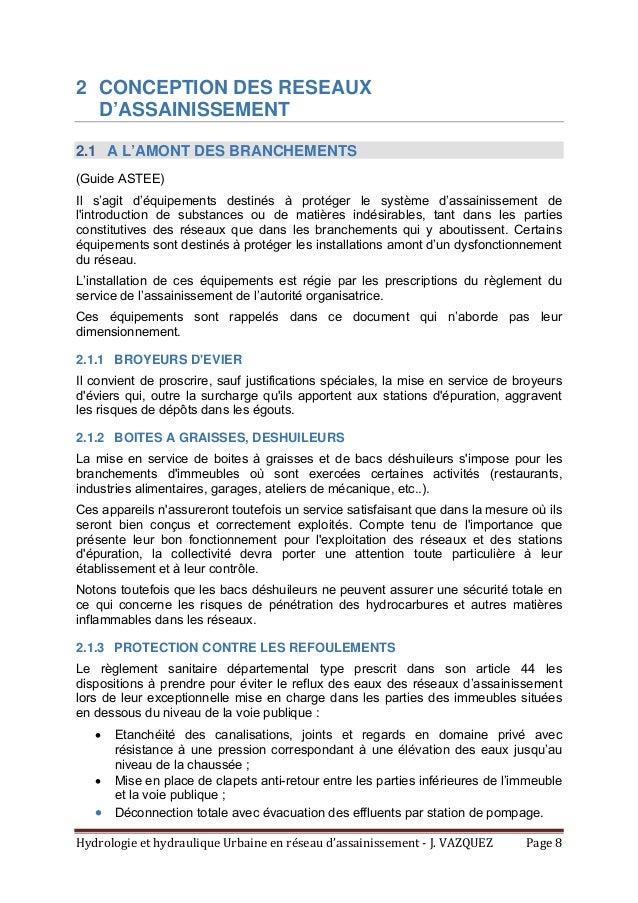 HydrologieethydrauliqueUrbaineenréseaud'assainissement‐J.VAZQUEZ Page8 2 CONCEPTION DES RESEAUX D'ASSAINISSEM...