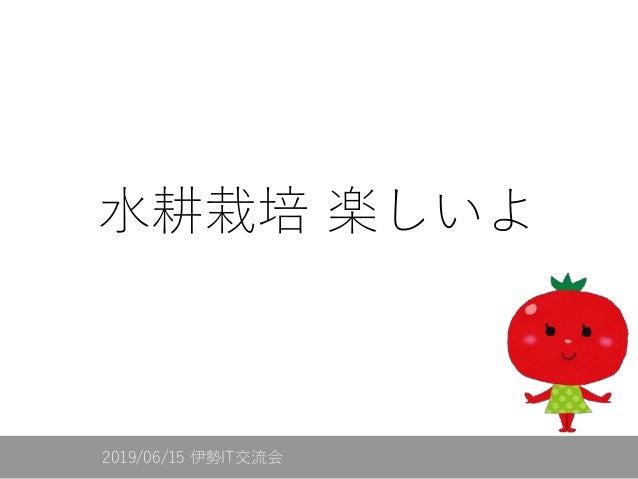 水耕栽培 楽しいよ 2019/06/15 伊勢IT交流会