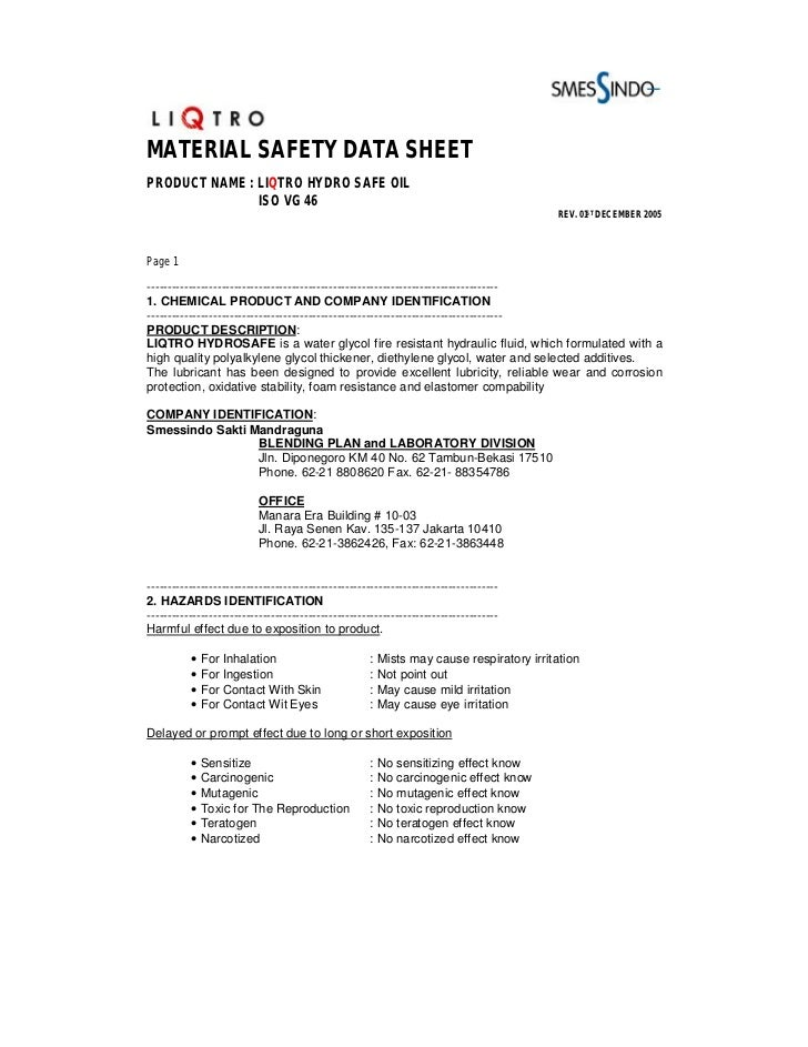 MATERIAL SAFETY DATA SHEETPRODUCT NAME : LIQTRO HYDRO SAFE OIL               ISO VG 46                                    ...