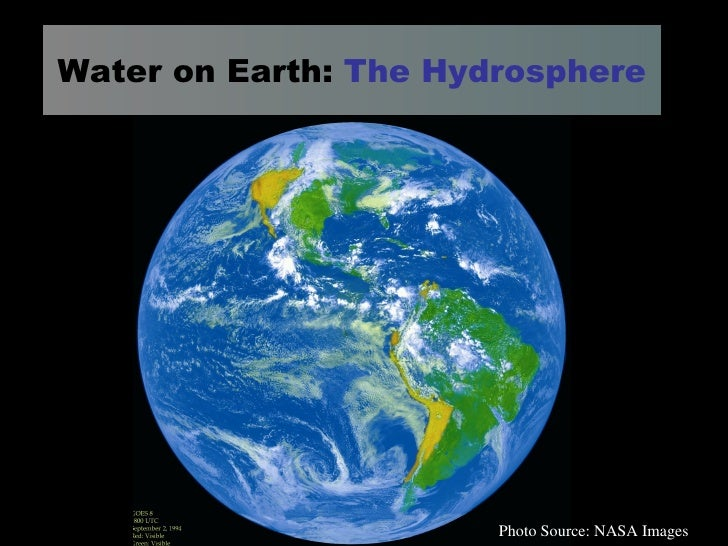 Water on Earth:  The Hydrosphere Photo Source: NASA Images