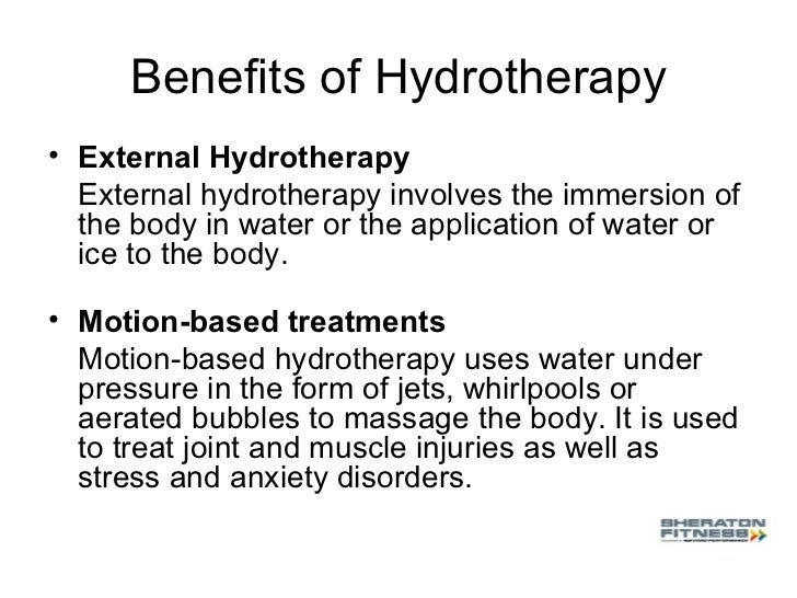 hydrotherapy and how its used for therapeutic purposes Define hydrotherapy, cryotherapy and thermotherapy hydrotherapy the external therapeutic use of water and complementary agents, such as soap and water.