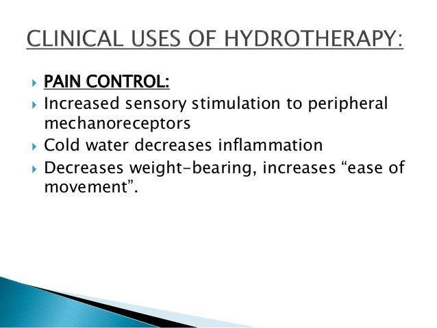 Hydrotherapy For Physical Therapy Lecture