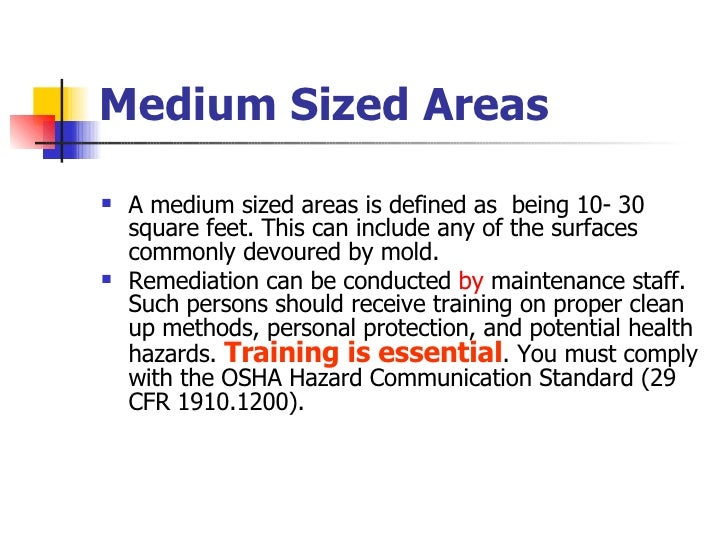 Medium Sized Areas <ul><li>A medium sized areas is defined as  being 10- 30 square feet. This can include any of the surfa...
