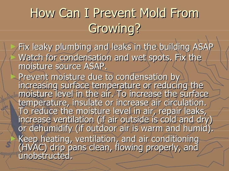 How Can I Prevent Mold From Growing? <ul><li>Fix leaky plumbing and leaks in the building ASAP </li></ul><ul><li>Watch for...
