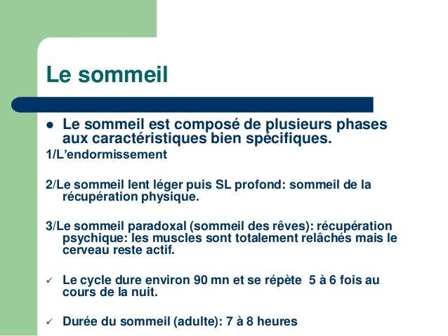 Le sommeil   Le sommeil est composé de plusieurs phases  aux caractéristiques bien spécifiques.  1/L'endormissement  2/Le...