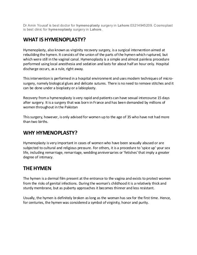 Hymenoplasty In Lahore Pakistan