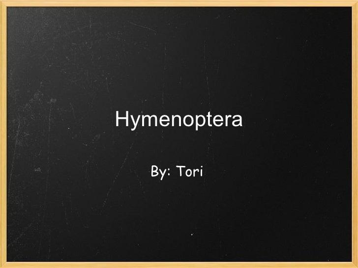 Hymenoptera By: Tori
