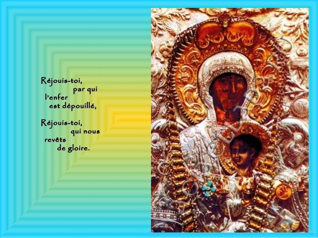 Réjouis-toi,Réjouis-toi, par quipar qui l'enferl'enfer est dépouillé,est dépouillé, Réjouis-toi,Réjouis-toi, qui nousqui n...