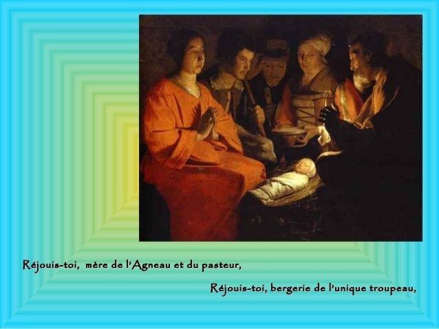 Réjouis-toi, mère de l'Agneau et du pasteur,Réjouis-toi, mère de l'Agneau et du pasteur, Réjouis-toi, bergerie de l'unique...