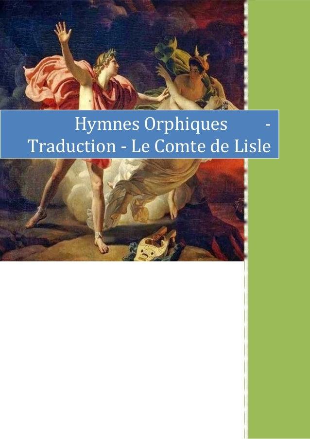 Hymnes Orphiques - Traduction - Le Comte de Lisle