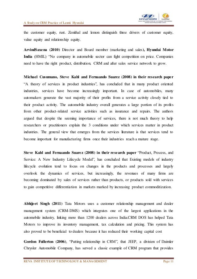 Customer relationship management in hyundai motor project