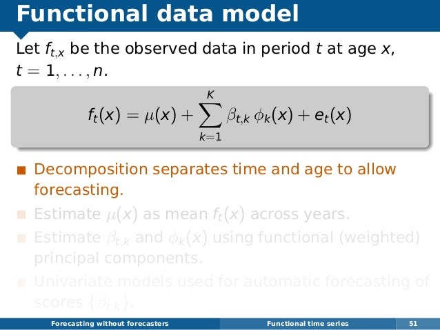 Functional data model Let ft,x be the observed data in period t at age x, t = 1, . . . , n. ft(x) = µ(x) + K k=1 βt,k φk(x...