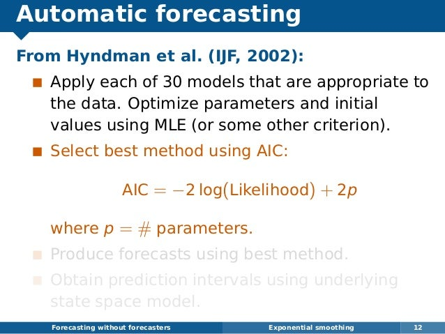 Automatic forecasting From Hyndman et al. (IJF, 2002): Apply each of 30 models that are appropriate to the data. Optimize ...