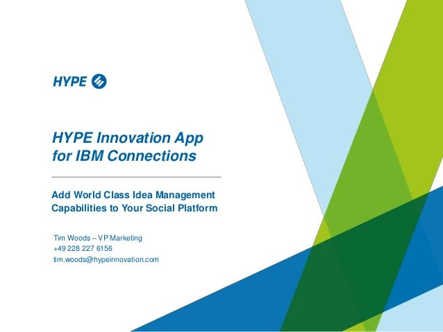 HYPE Innovation App for IBM Connections Add World Class Idea Management Capabilities to Your Social Platform Tim Woods – V...