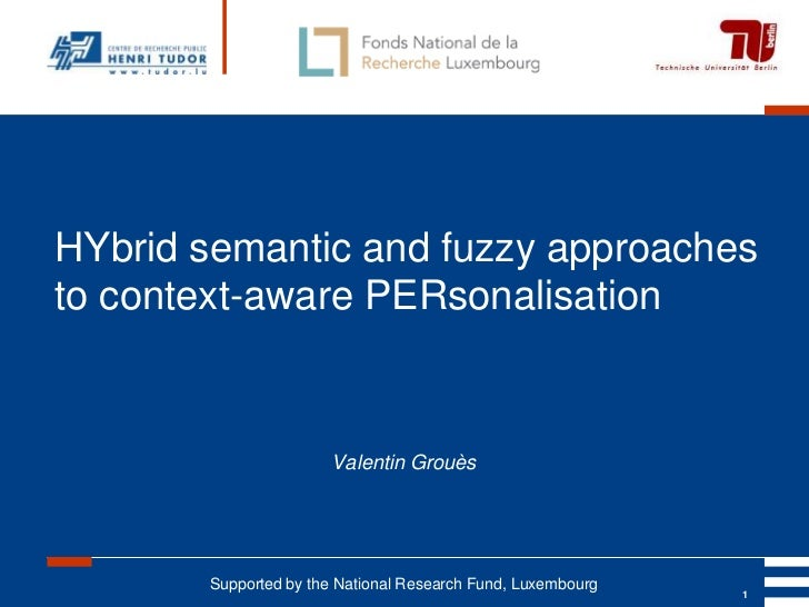 HYbrid semantic and fuzzy approachesto context-aware PERsonalisation                       Valentin Grouès       Supported...