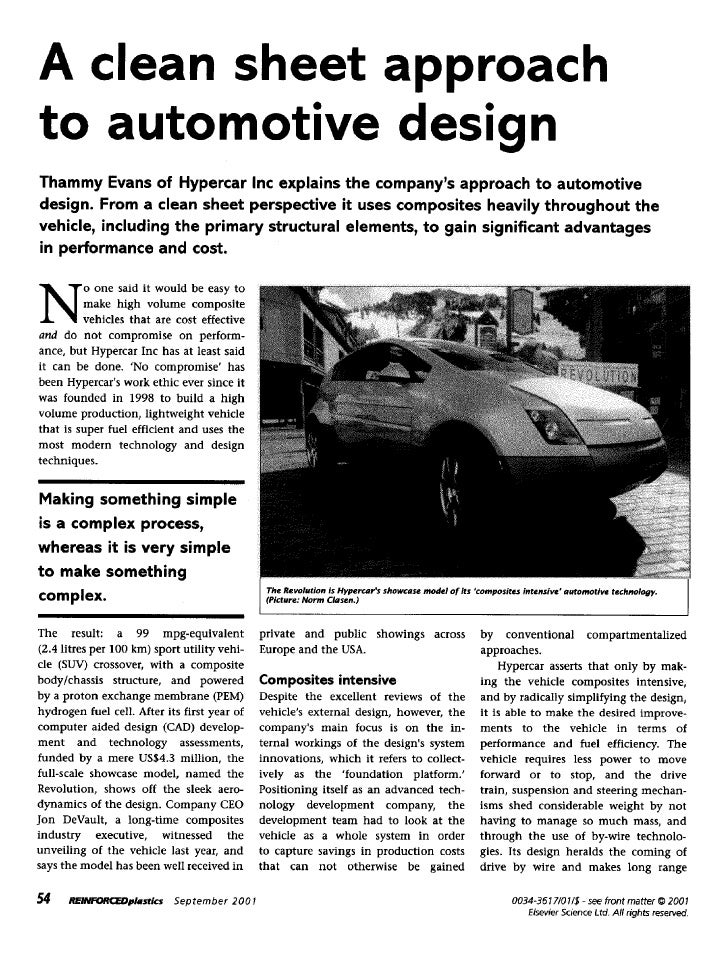 A clean sheet approachto automotive designThammy Evans of Hypercar Inc explains the companys approach to automotivedesign....