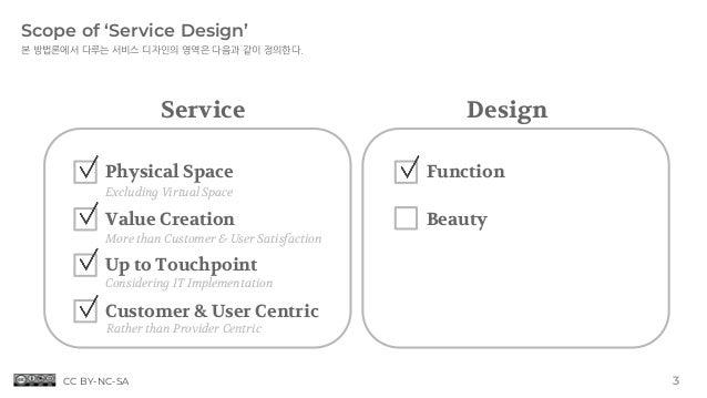 Considering IT Implementation Scope of 'Service Design' 본 방법론에서 다루는 서비스 디자인의 영역은 다음과 같이 정의한다. Service Design Physical Spac...